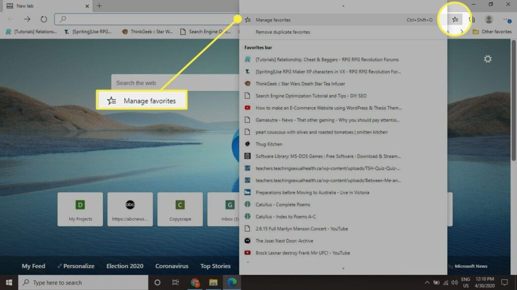 How to show the favorite bookmarks bar on Microsoft edge